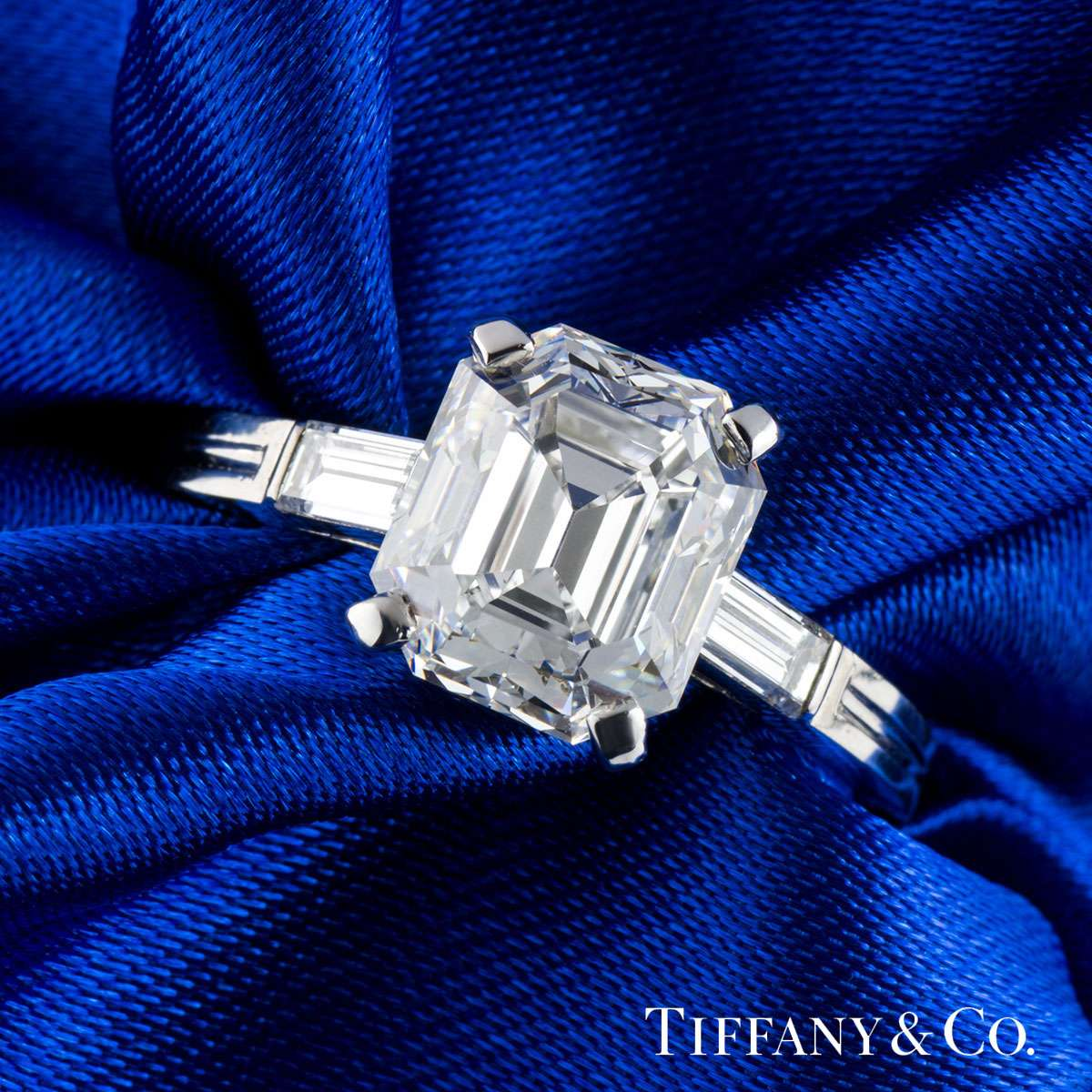 Tiffany & Co Palladium Emerald Cut Diamond Ring 3.48ct E/VVS2